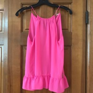 Lilly Pulitzer Pink Peplum Silk Tank Top